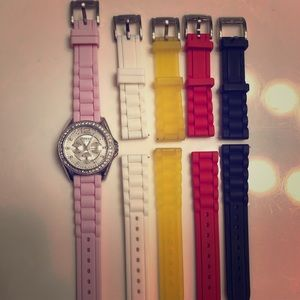 Women's Fossil watch w/ 4 extra bands